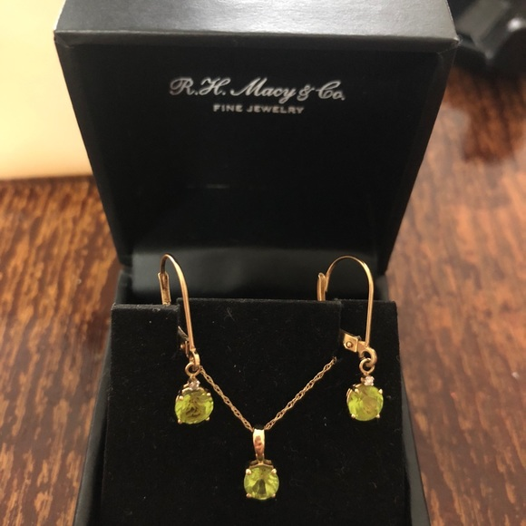 Macy S Jewelry 14k Gold Earrings With Real Diamondnatural Stone